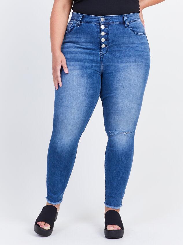 Keaton Raw Hem Skinny Jeans Detail 2 - ARULA formerly A'Beautiful Soul