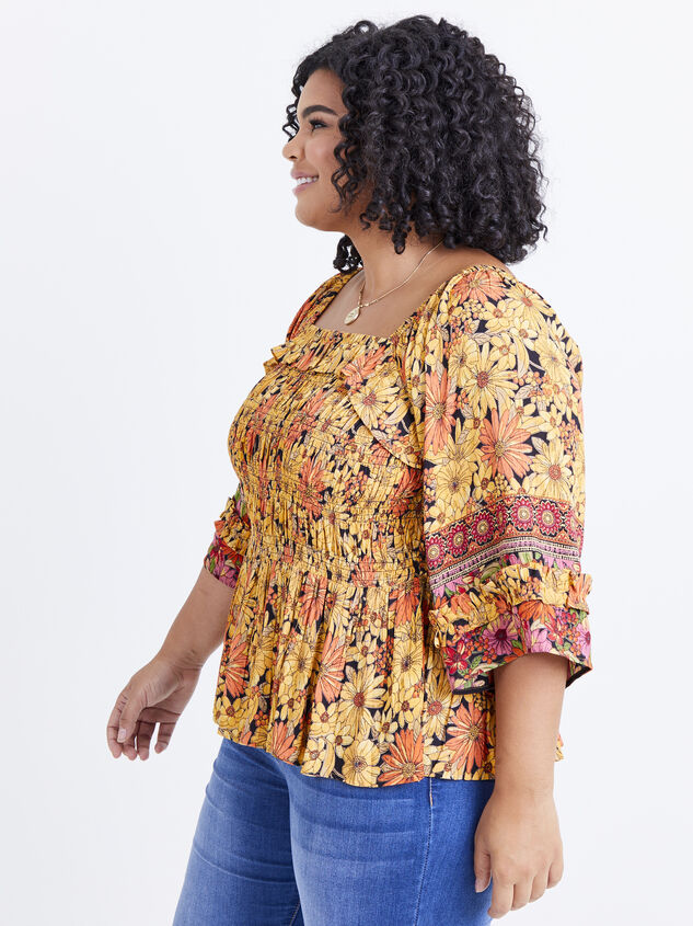 Scarlet Sunflower Top Detail 2 - ARULA formerly A'Beautiful Soul