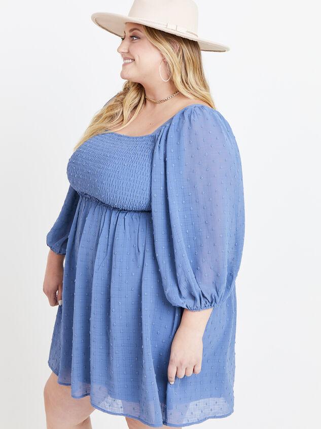 Majorie Clipdot Dress - Steel Blue Detail 2 - ARULA formerly A'Beautiful Soul