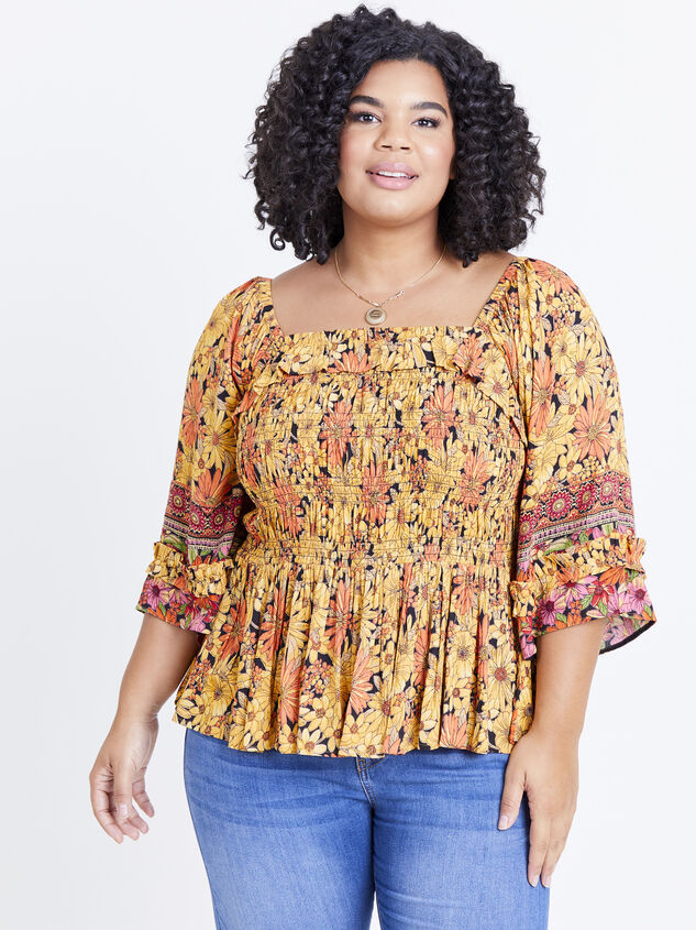 Scarlet Sunflower Top Detail 1 - ARULA formerly A'Beautiful Soul