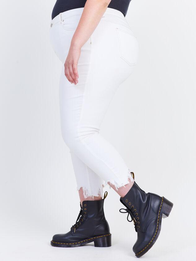 "Incrediflex 26"" Raw Hem Skinny Jeans Detail 3 - ARULA formerly A'Beautiful Soul"