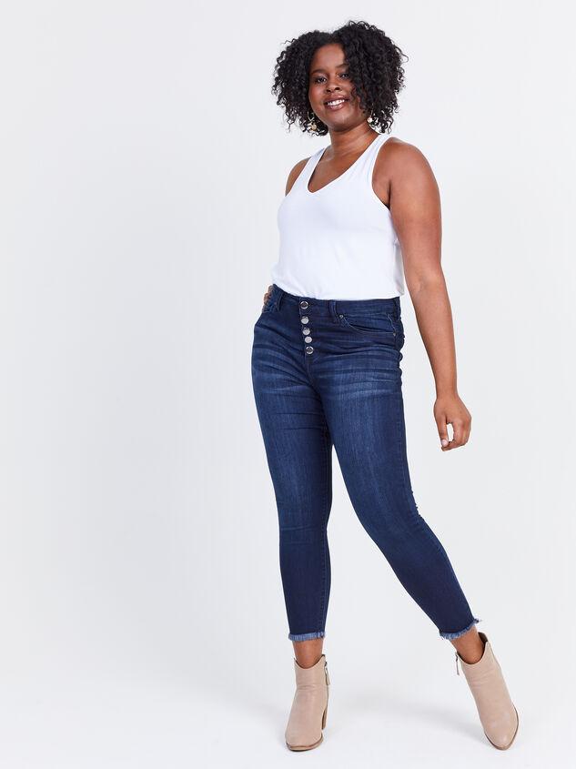 Resistance Raw Hem Skinny Jeans Detail 5 - ARULA formerly A'Beautiful Soul