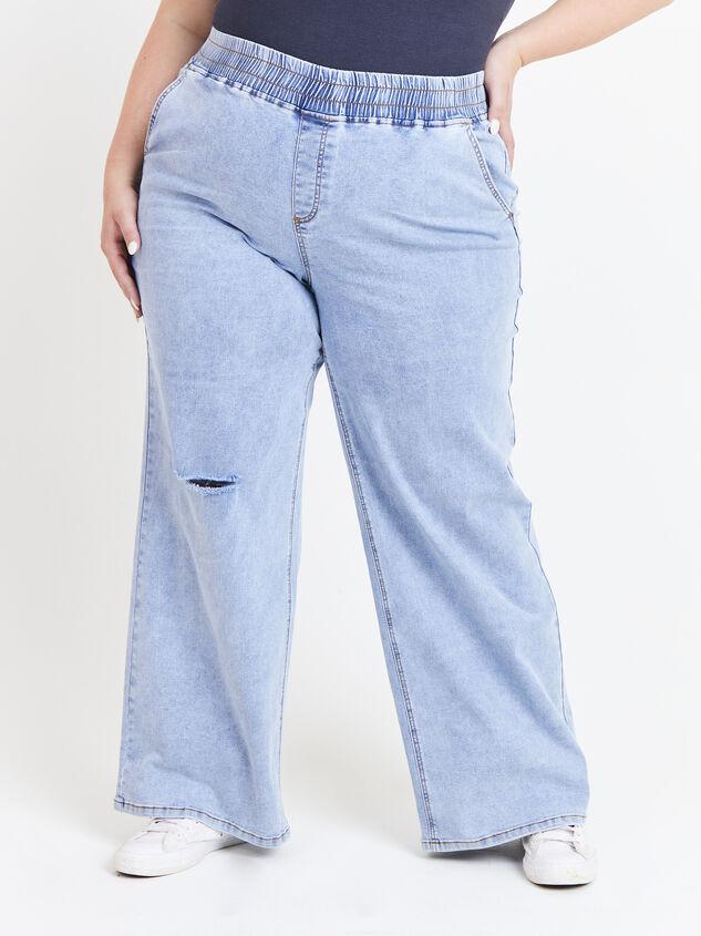 Forever Blue Wide Leg Jeans Detail 2 - ARULA