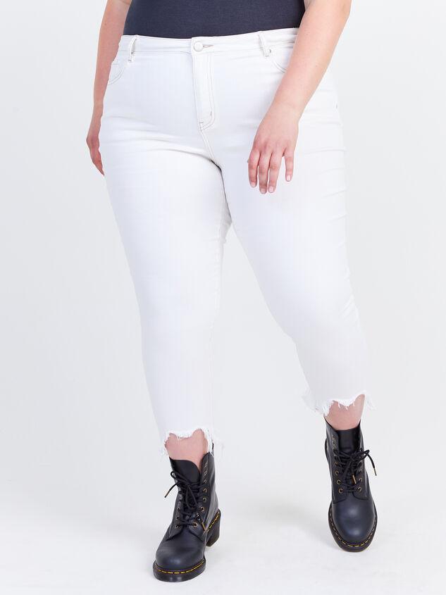 "Incrediflex 26"" Raw Hem Skinny Jeans Detail 2 - ARULA formerly A'Beautiful Soul"