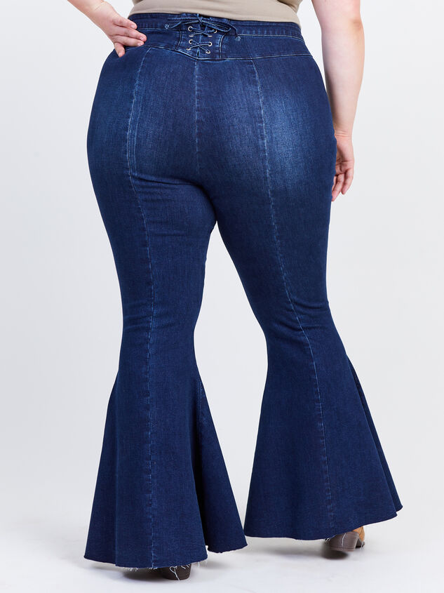Incrediflex Lace Up Raw Hem Flare Jeans Detail 4 - ARULA formerly A'Beautiful Soul