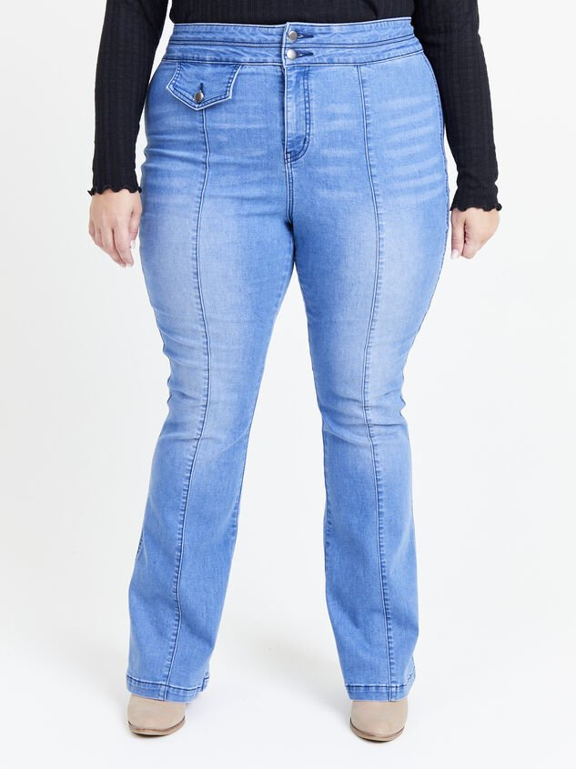 Blue Steel Flare Jeans Detail 2 - ARULA