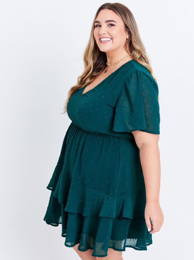 Tallulah Clipdot Dress - Evergreen Detail 2 - ARULA