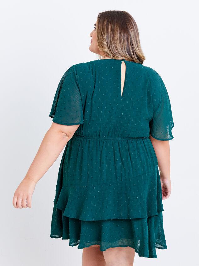 Tallulah Clipdot Dress - Evergreen Detail 3 - ARULA