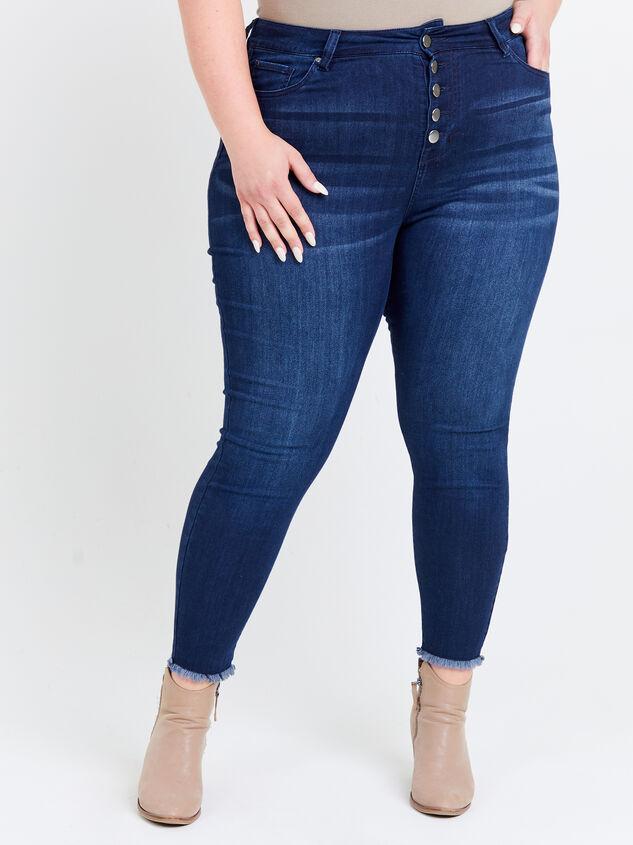 Resistance Raw Hem Skinny Jeans Detail 2 - ARULA formerly A'Beautiful Soul