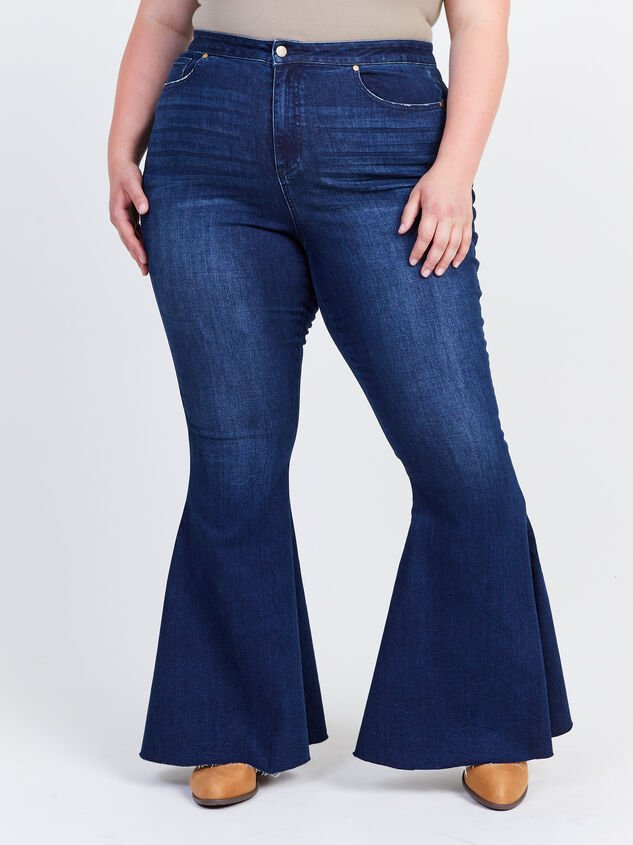 Incrediflex Lace Up Raw Hem Flare Jeans Detail 2 - ARULA formerly A'Beautiful Soul