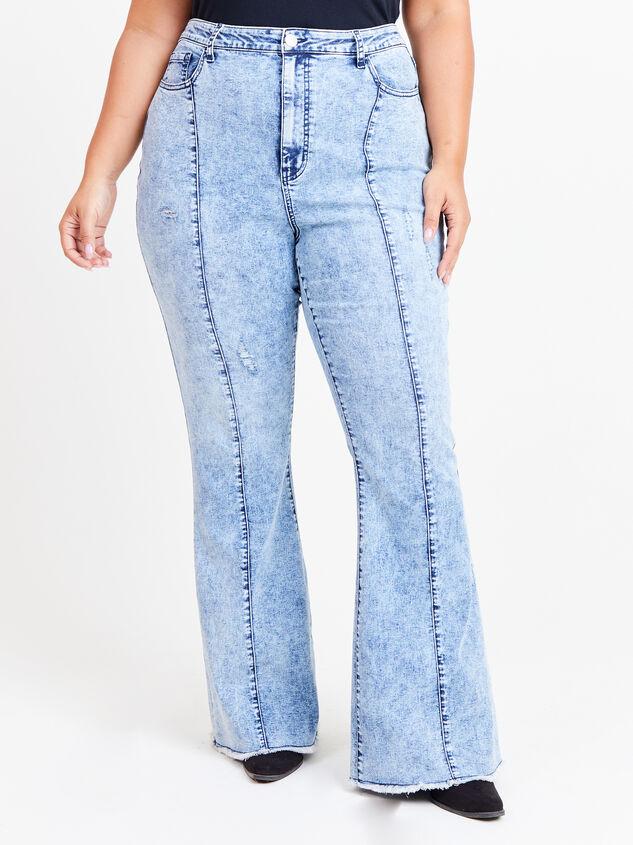 Incrediflex Acid Wash Flare Jeans Detail 2 - ARULA