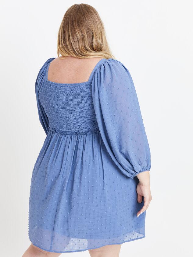 Majorie Clipdot Dress - Steel Blue Detail 3 - ARULA formerly A'Beautiful Soul