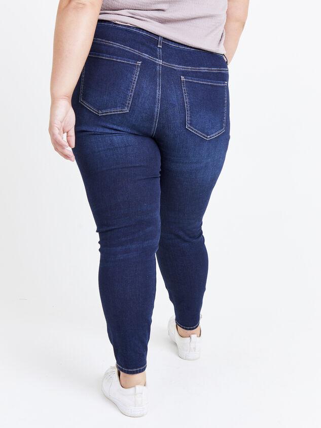"Incrediflex 29"" Dark Skinny Jeans Detail 4 - ARULA"