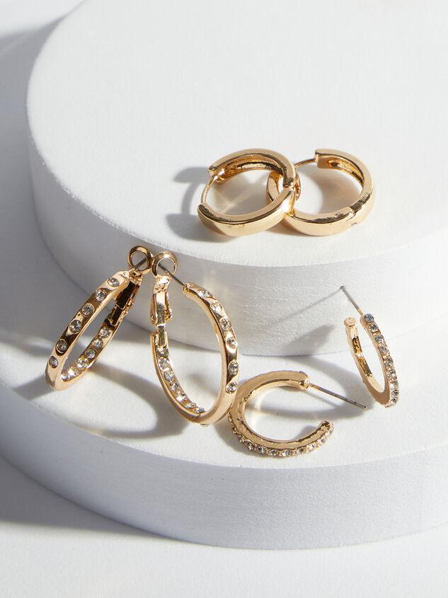 Rhinestone Hoop Earring Set - ARULA