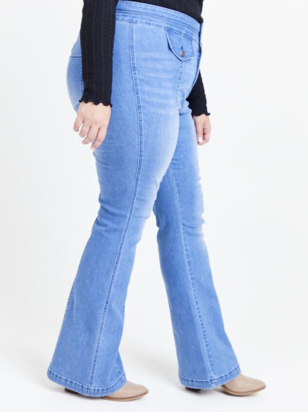Blue Steel Flare Jeans Detail 3 - ARULA
