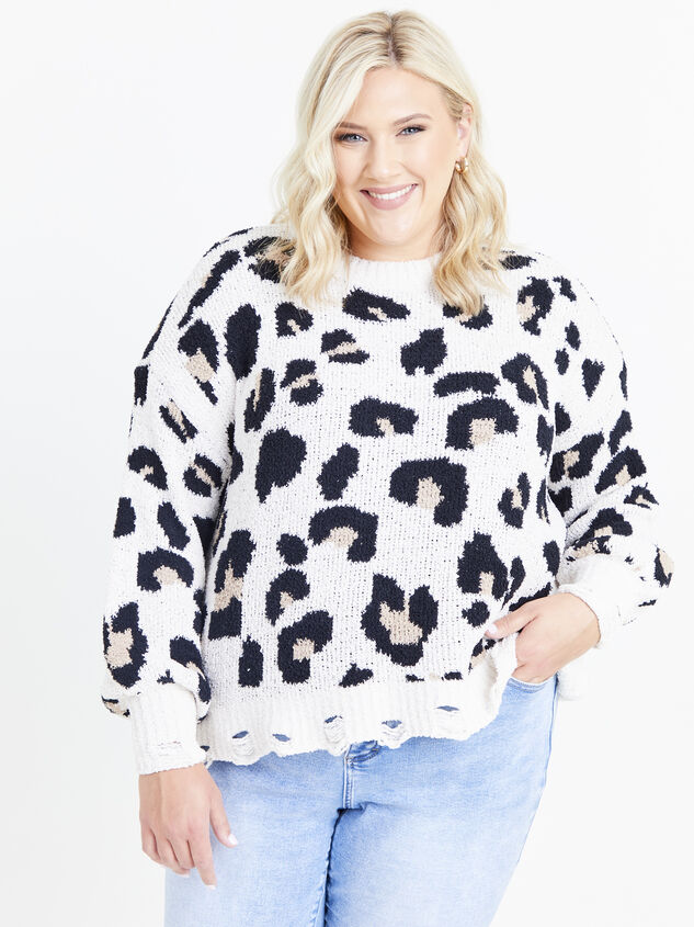 So Cozy Leopard Sweater Detail 1 - ARULA formerly A'Beautiful Soul