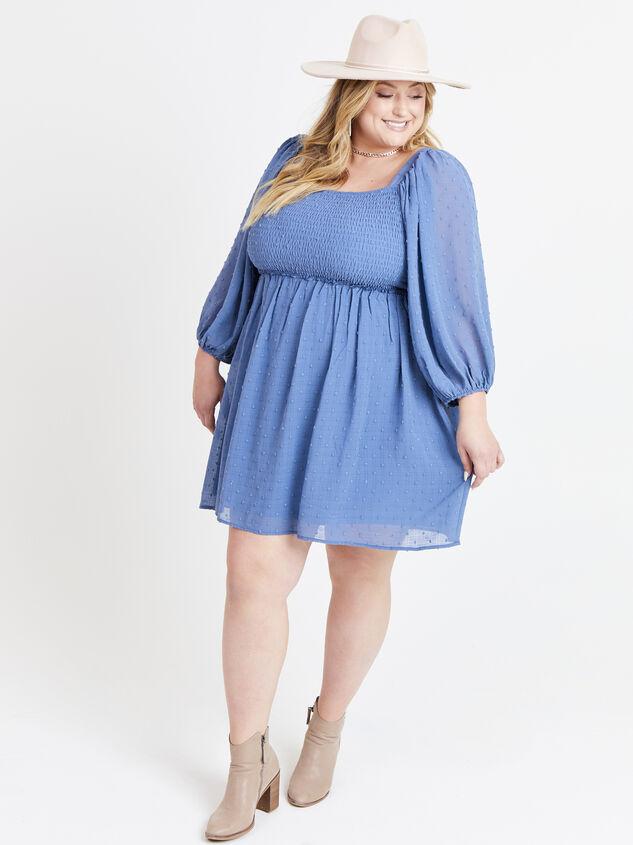Majorie Clipdot Dress - Steel Blue Detail 5 - ARULA formerly A'Beautiful Soul