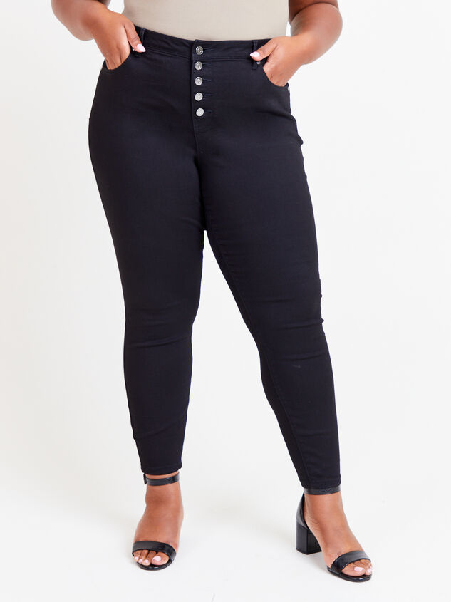 "Incrediflex 29"" Black Skinny Jeans Detail 2 - ARULA formerly A'Beautiful Soul"