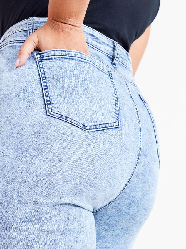 Incrediflex Acid Wash Flare Jeans Detail 5 - ARULA