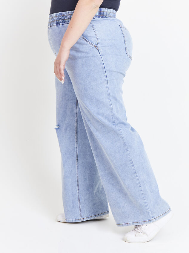 Forever Blue Wide Leg Jeans Detail 3 - ARULA