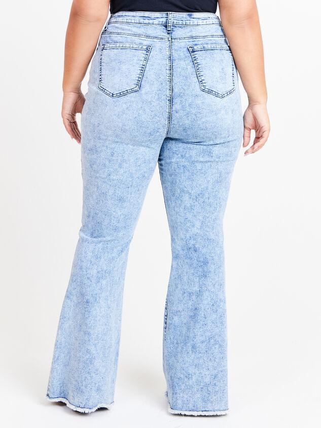Incrediflex Acid Wash Flare Jeans Detail 4 - ARULA