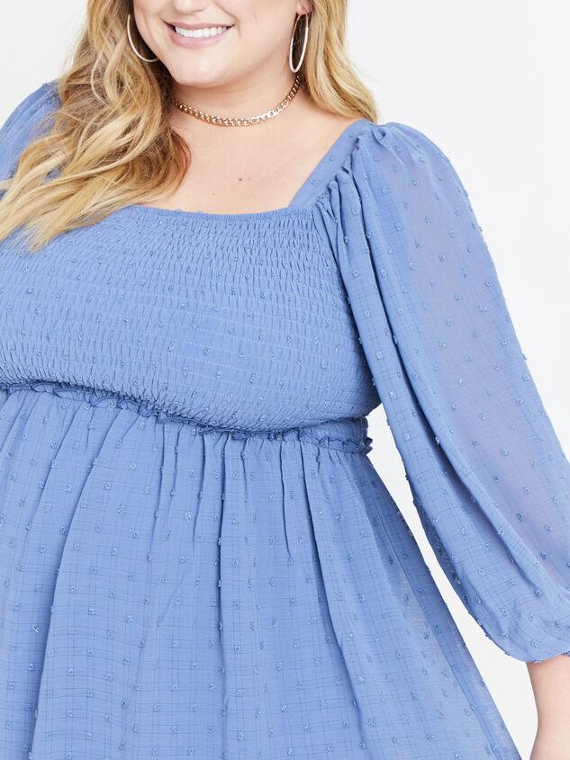 Majorie Clipdot Dress - Steel Blue Detail 4 - ARULA formerly A'Beautiful Soul