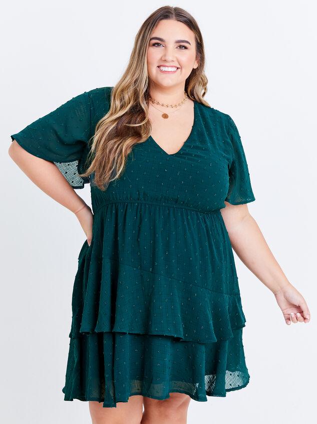 Tallulah Clipdot Dress - Evergreen - ARULA