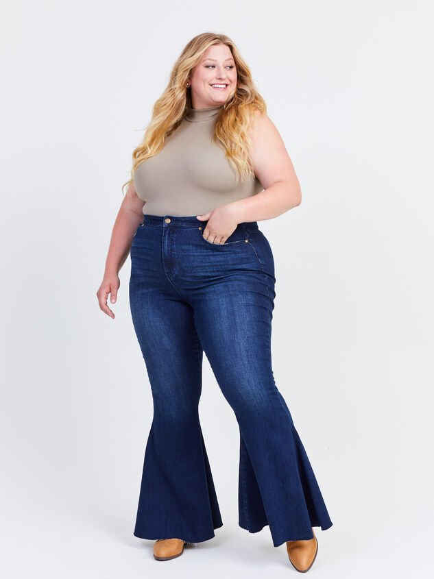 Incrediflex Lace Up Raw Hem Flare Jeans Detail 1 - ARULA formerly A'Beautiful Soul